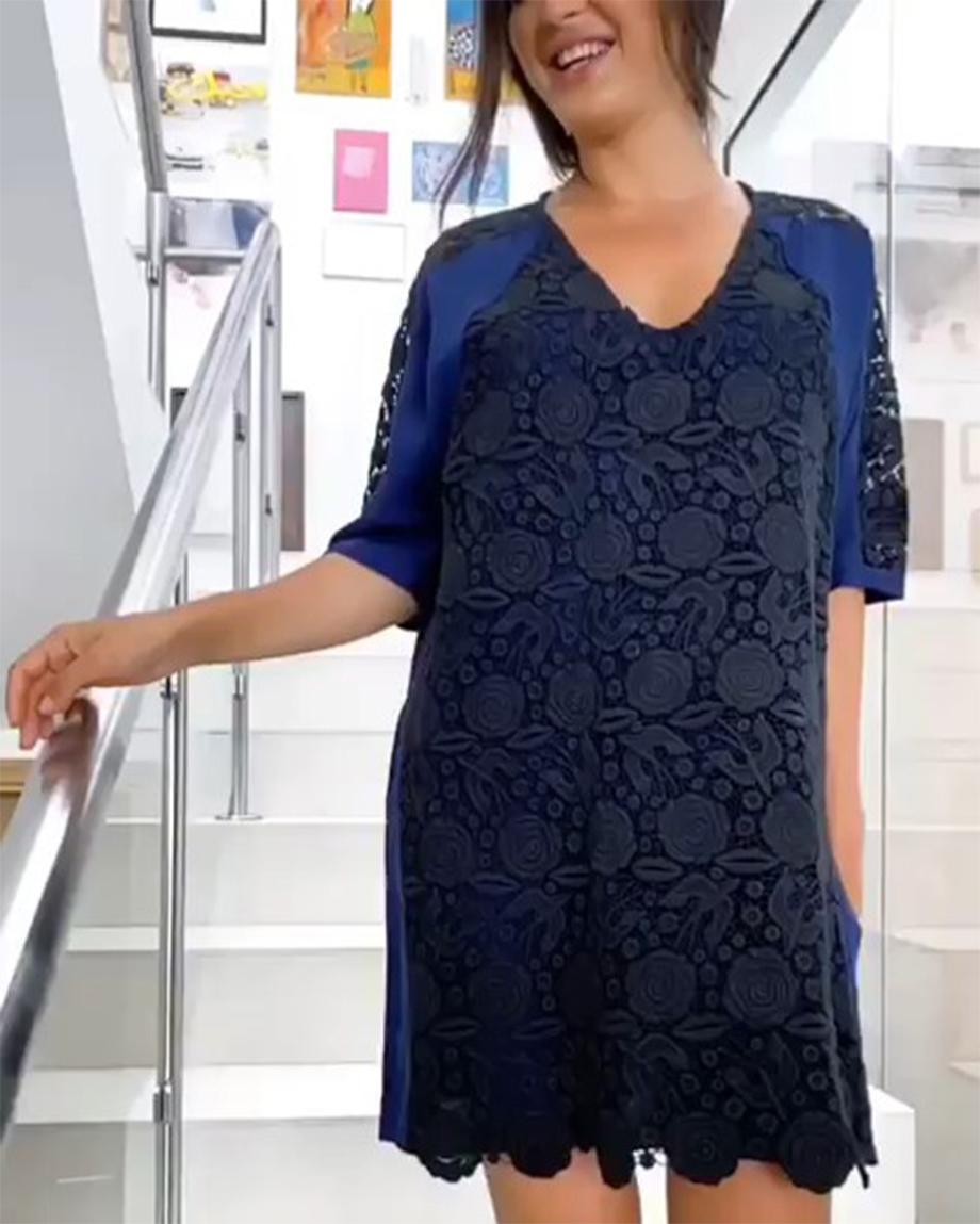 LAVINIA DRESS - BLACK LACE WITH NAVY