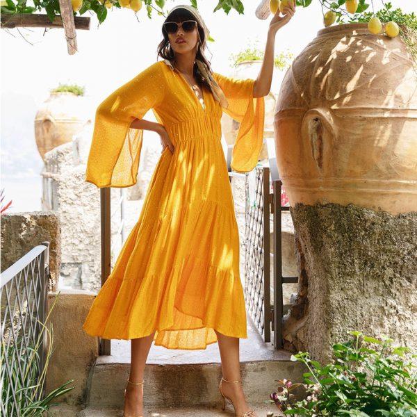 CLAUDIA LONG DRESS ORANGE