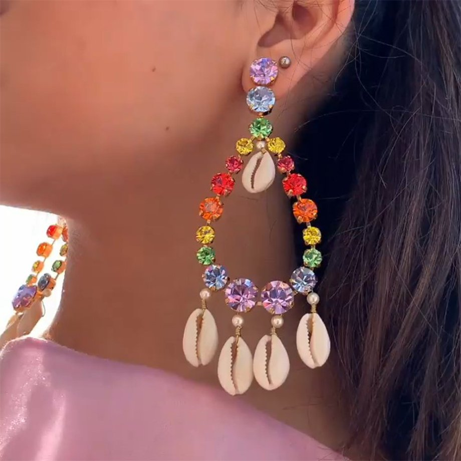 NINA DROP EARRINGS MULTI COLOR CRYSTAL SHELLS