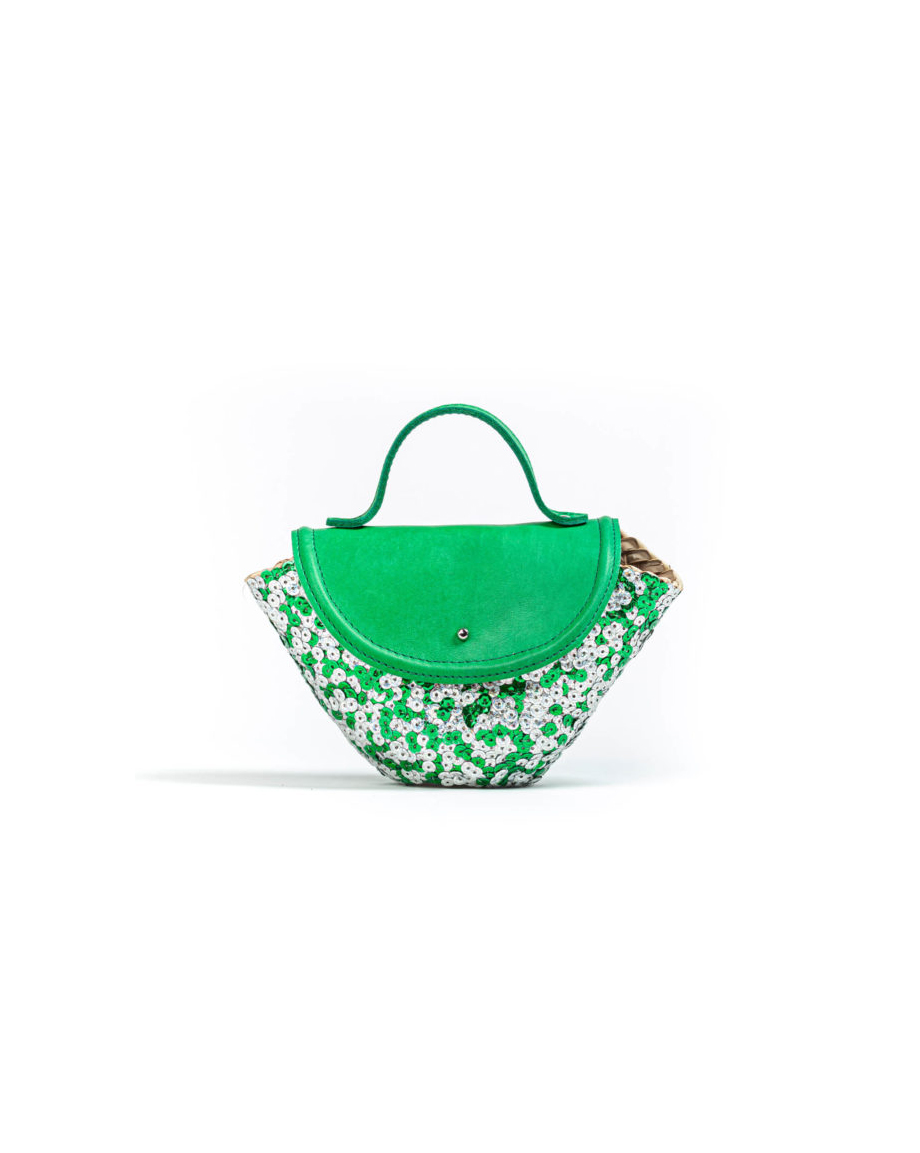 STRAW BASKET BAG GREEN