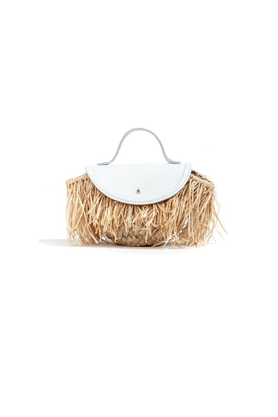 STRAW BASKET BAG MADE WITH LEATHER COCONUT