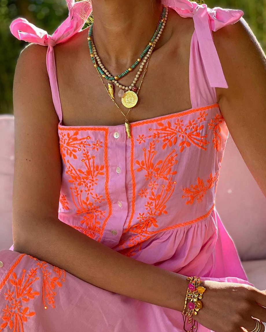 TIE SHOULDER DRESS WITH LOTUS EMBROIDERY