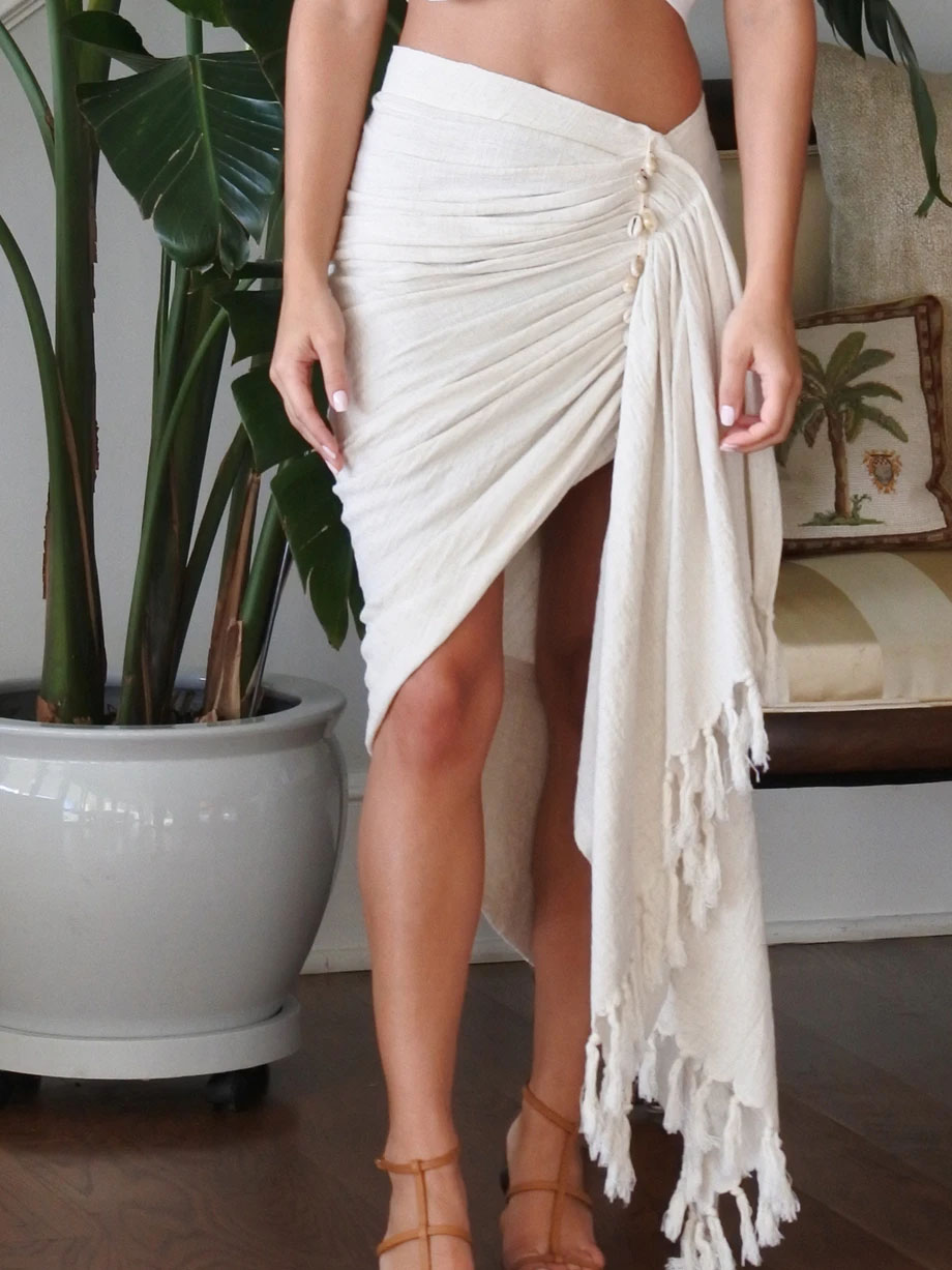 TULUM SKIRT WITH SHELLS OATMEAL