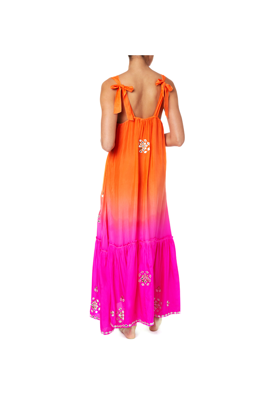 OMBRE V-NECK DRESS PINK ORANGE
