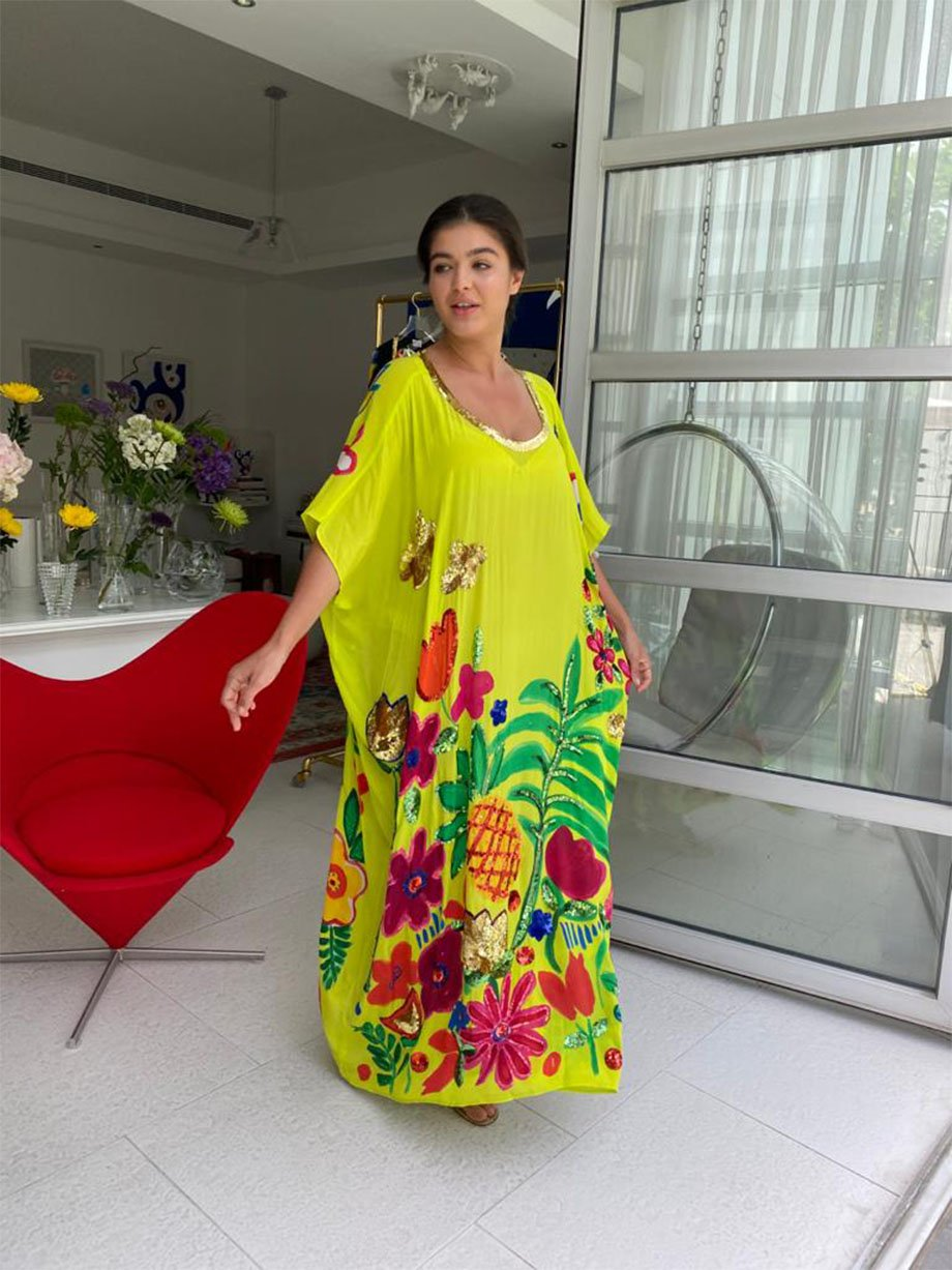 YELLOW TROPICAL VALLEY LONG KAFTAN