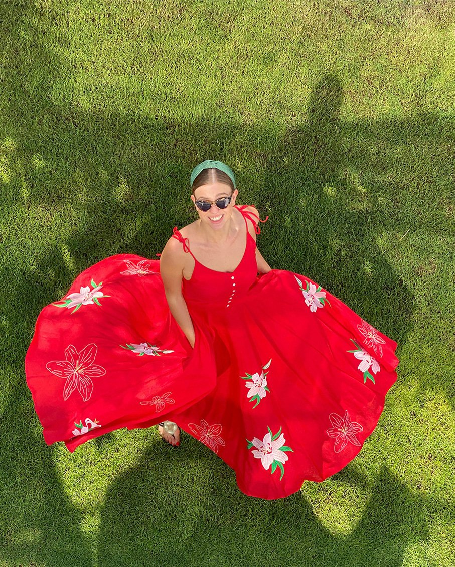 ANYA RED LINEN MAXI DRESS PINK FLORAL EMBROIDERY
