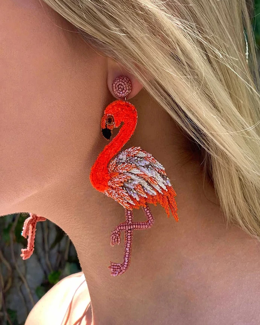 FLAMINGO EARRINGS WITH GLASS BEADS