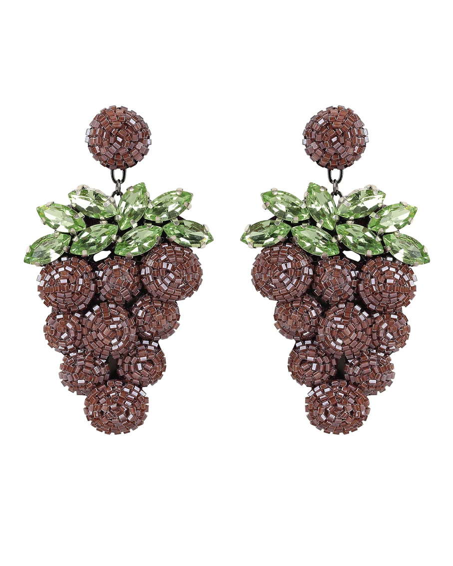 GRAPES EARRINGS WITH GLASS BEADS