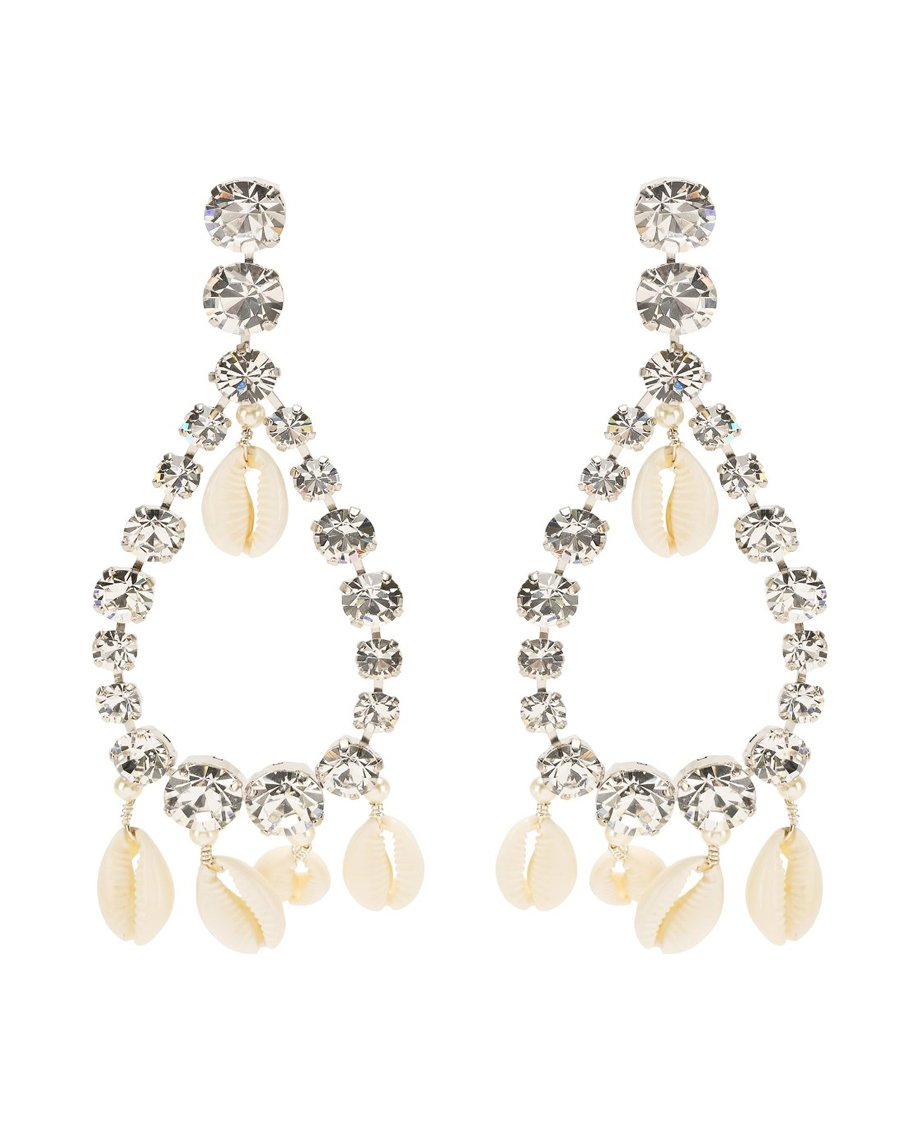 NINA DROP EARRINGS LT GOLD CRYSTAL SHELLS