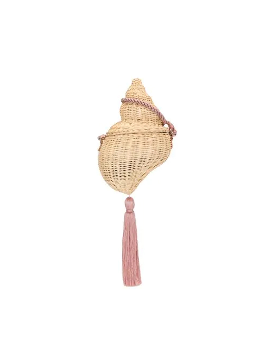 WICKER CONCH WITH SILK STRAP NATURAL WITH DUSTY ROSE