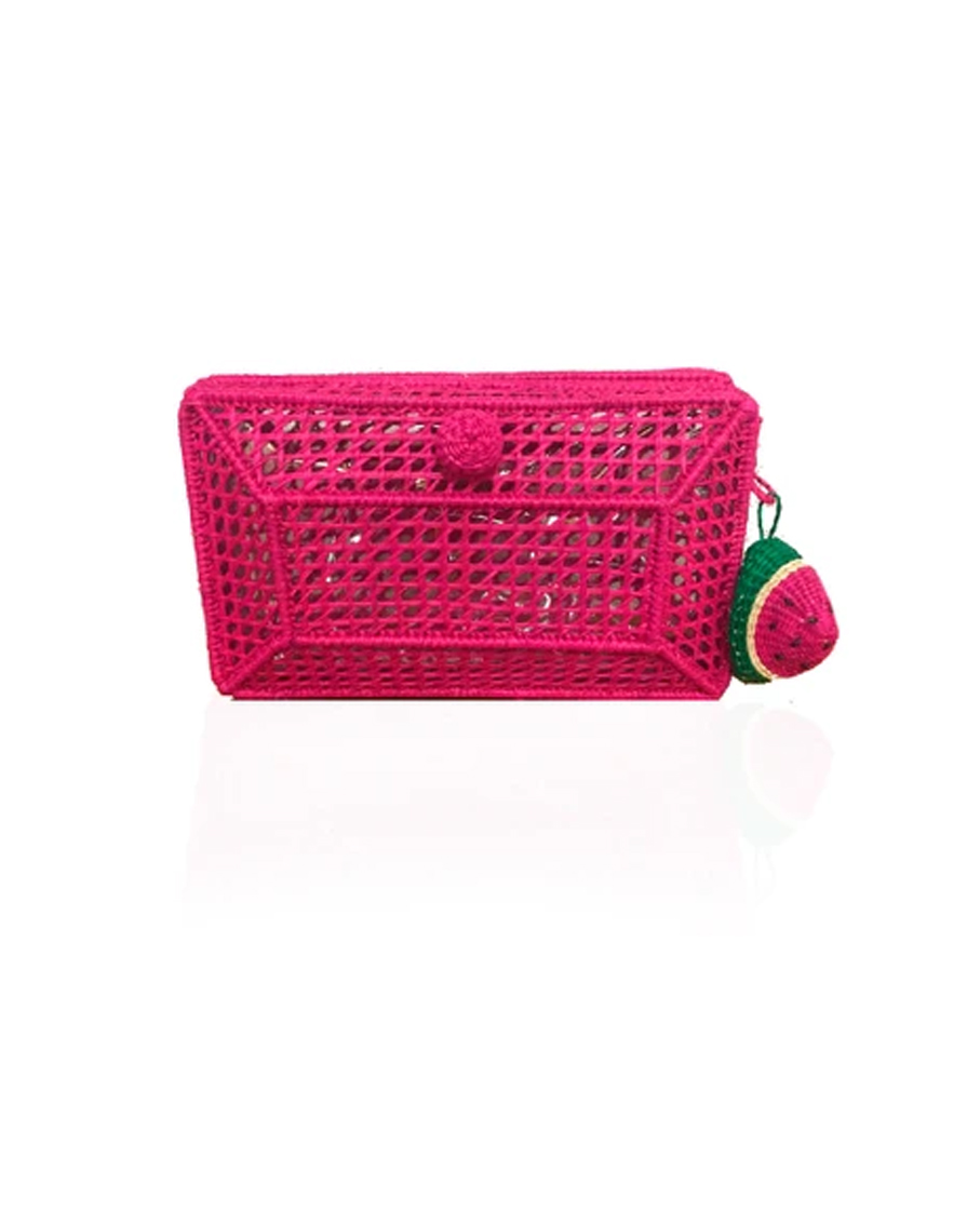 CHARLOTTE IR CLUTCH IN STRAW PINK
