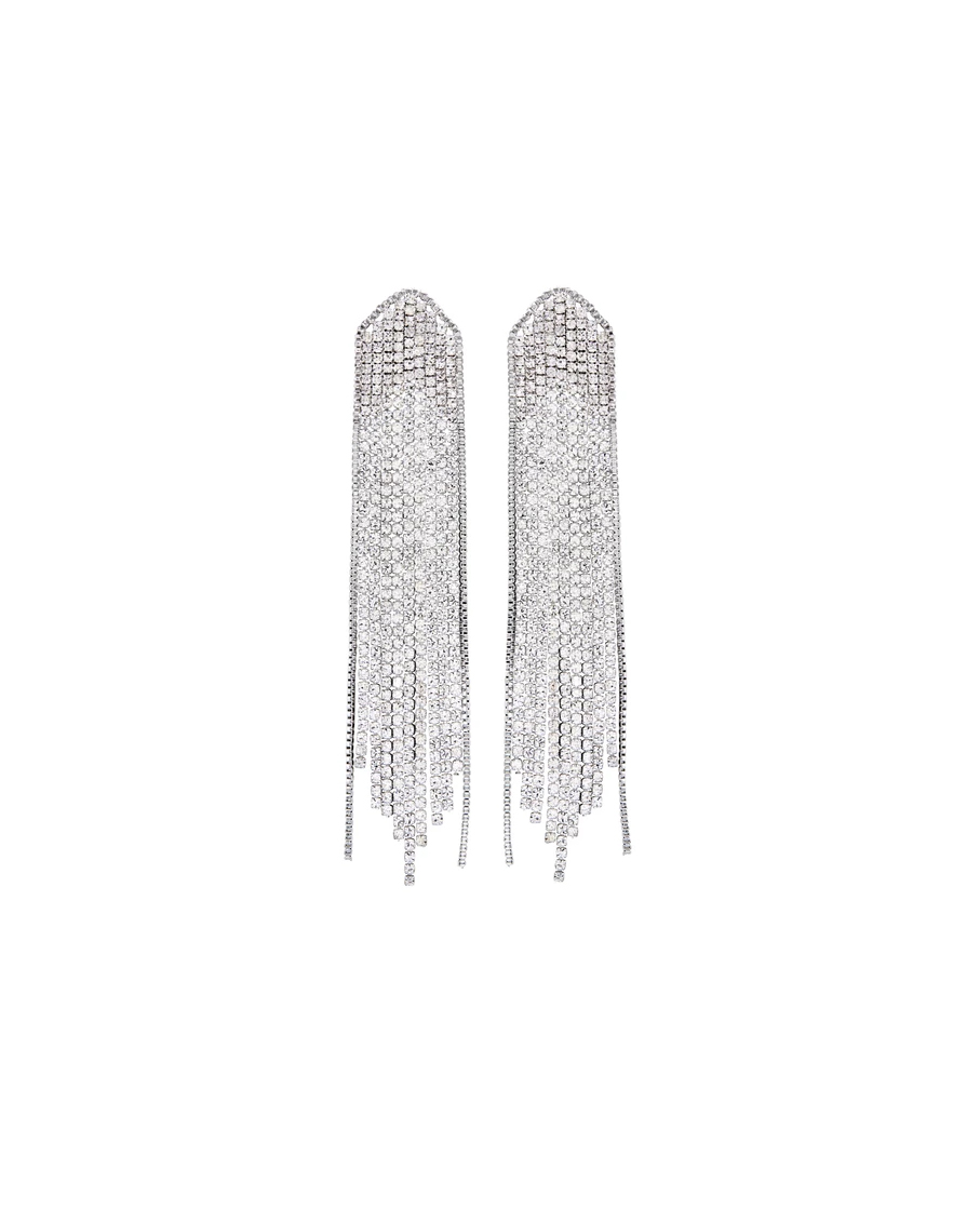 FEATHERED WATERFALL EARRING RHODIUM CLEAR