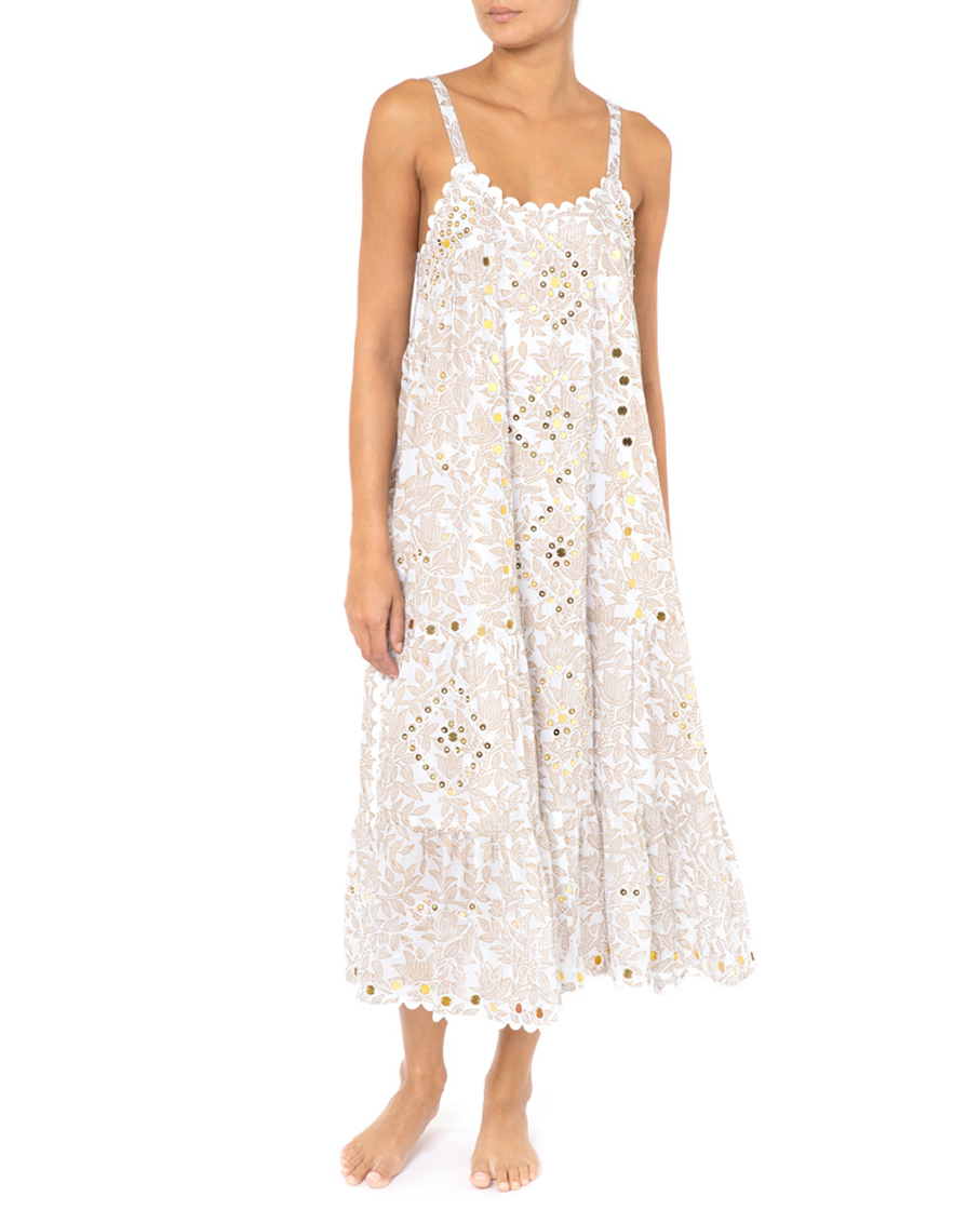 Gold Block Print Swing Dress