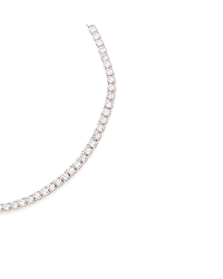 SOLITAIRE TOGGLE CHOKER RHODIUM CLEAR