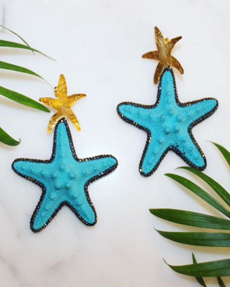 BEACH MADDNESS EARRING STARFISH BLUE