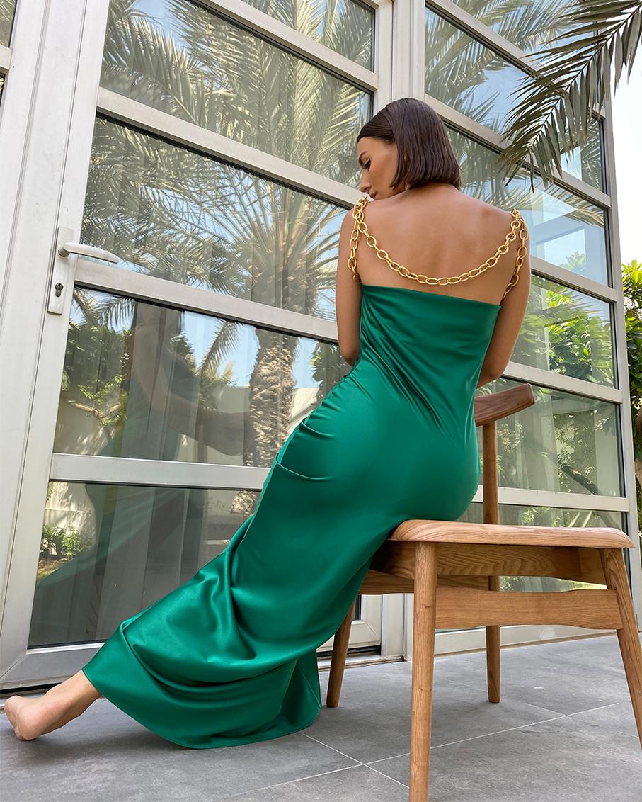 MAXI SATIN SLIP DRESS CHAIN STRAP DETAIL GREEN