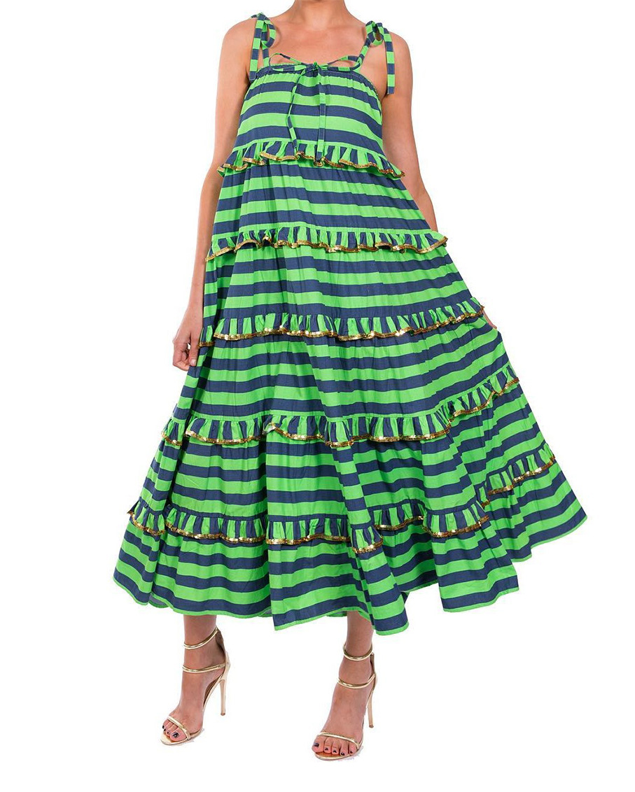 NAVY AND GREEN SCALLOPPED IMPERIAL DRESS