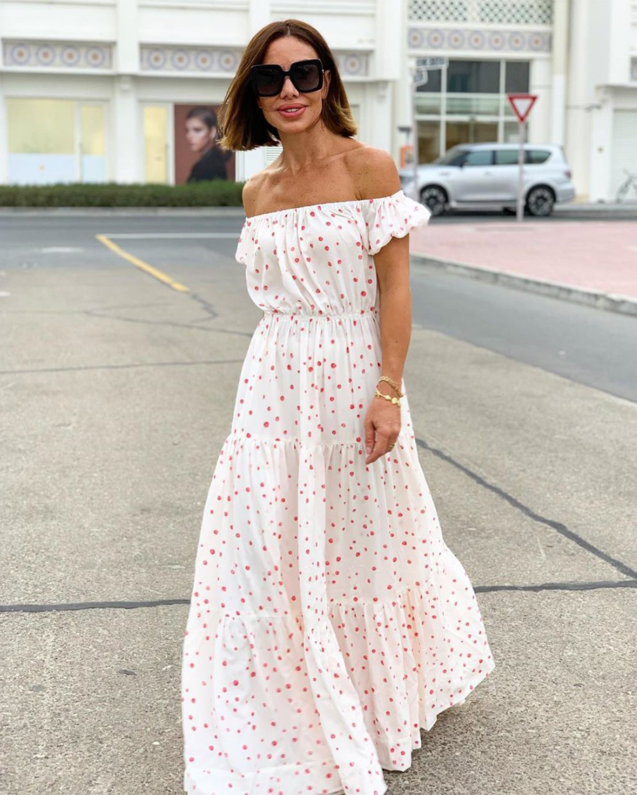 OFF THE SHOULDER MAXI DRESS WITH RED DOTS