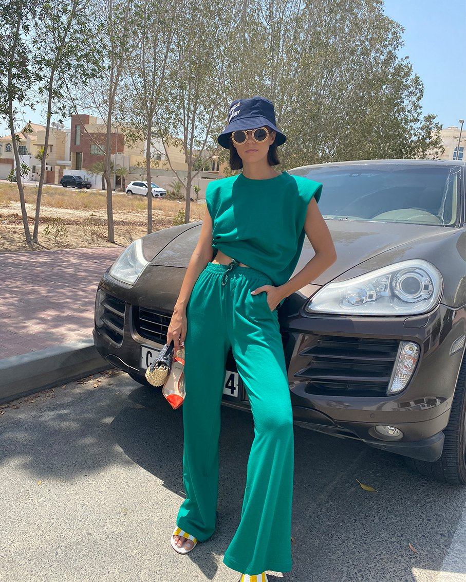 TOP WITH SHOULDER PADS AND TROUSERS SET GREEN