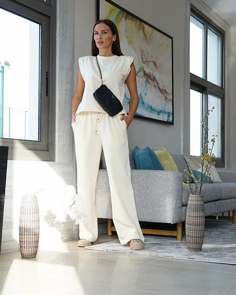 TOP WITH SHOULDER PADS AND TROUSERS SET IVORY