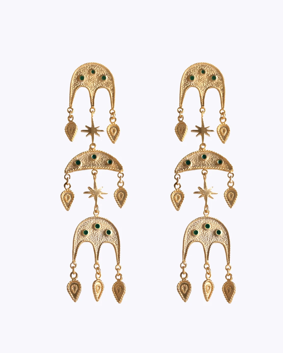 JEBEL TRIPLE EARRINGS DARK SEA GREEN