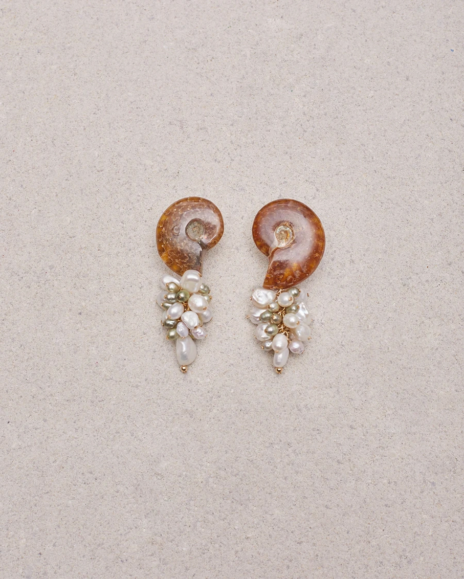 AMMONITE FOSSILIZED SHELL CLIP ON EARRINGS