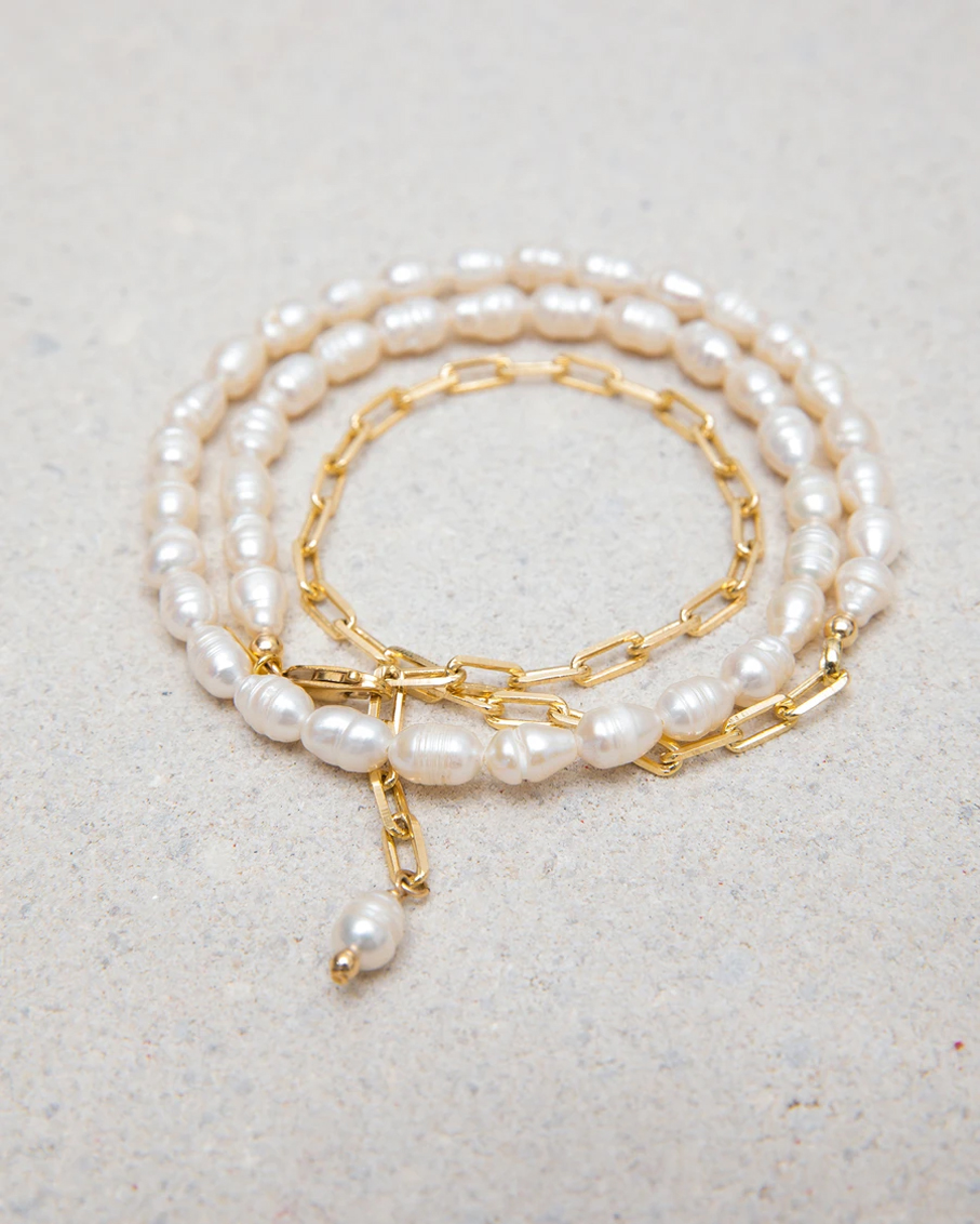 ADJUSTABLE PEARL AND GOLD PLATED WRAP CHAIN