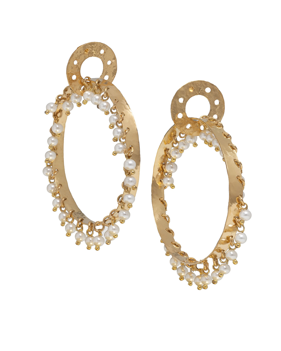 MILANA EARRINGS GOLD/ PRL
