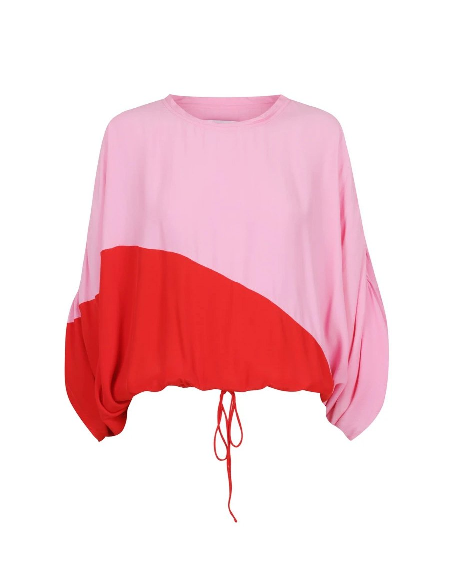 TOP WITH FULL FLOWING MIDI SKIRT SET PINK RED