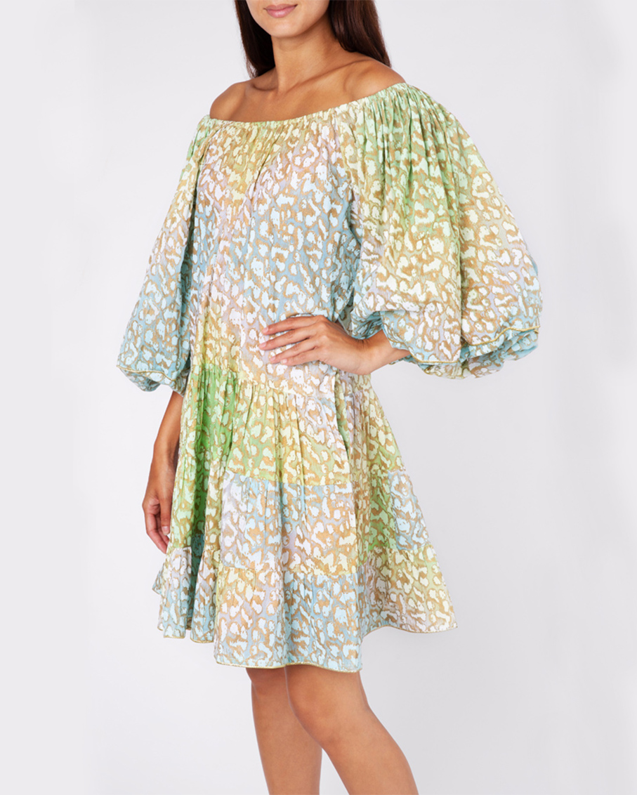 BOHO LAYER DRESS IN TIE DYE SNOW LEOPARD GREEN LIME TURQ