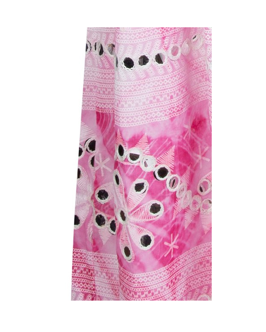 NOMAD PRINT TIE SHOULDER DRESS FUCHSIA WHITE