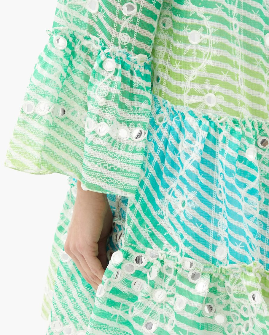 RAINBOW FLARED SLEEVE WITH MIRROR EMBROIDERY BLUE GREEN