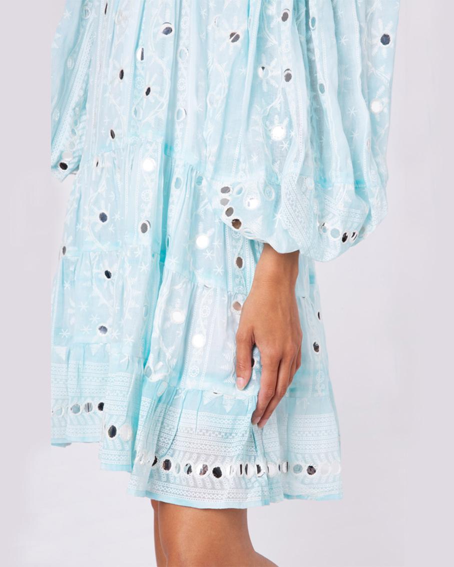 NOMAD PRINT BOHO LAYER DRESS TURQ WHITE