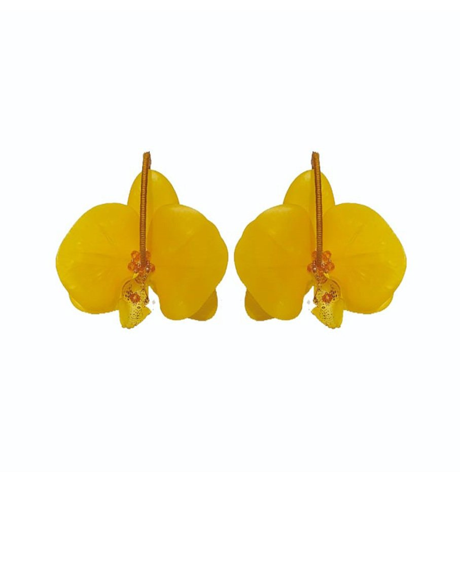 ORCHID FLOWER HOOP EARRINGS_YLW