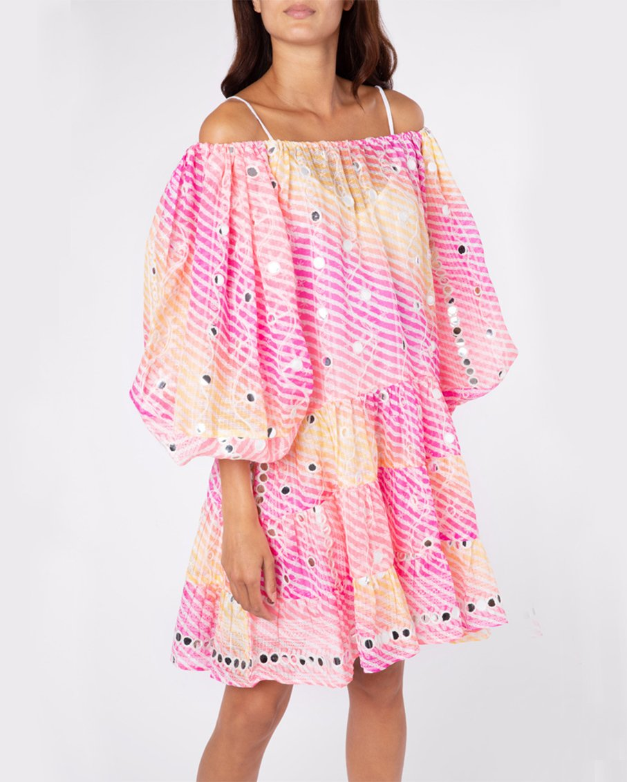 RAINBOW BOHO LAYER DRESS WITH MIRRORS PINK YELLOW