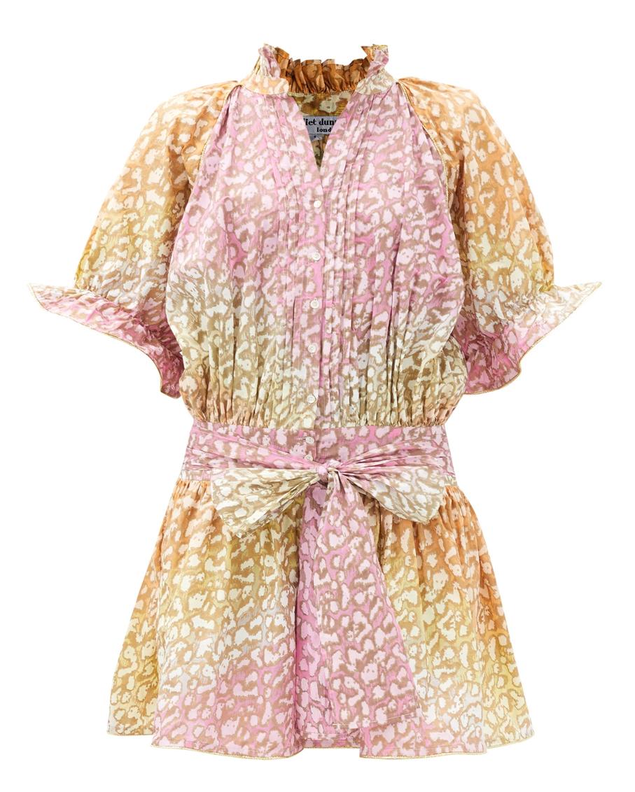 BLOUSON DRESS IN TIE DYE SNOW LEOPARD ORANGE YELLOW PINK