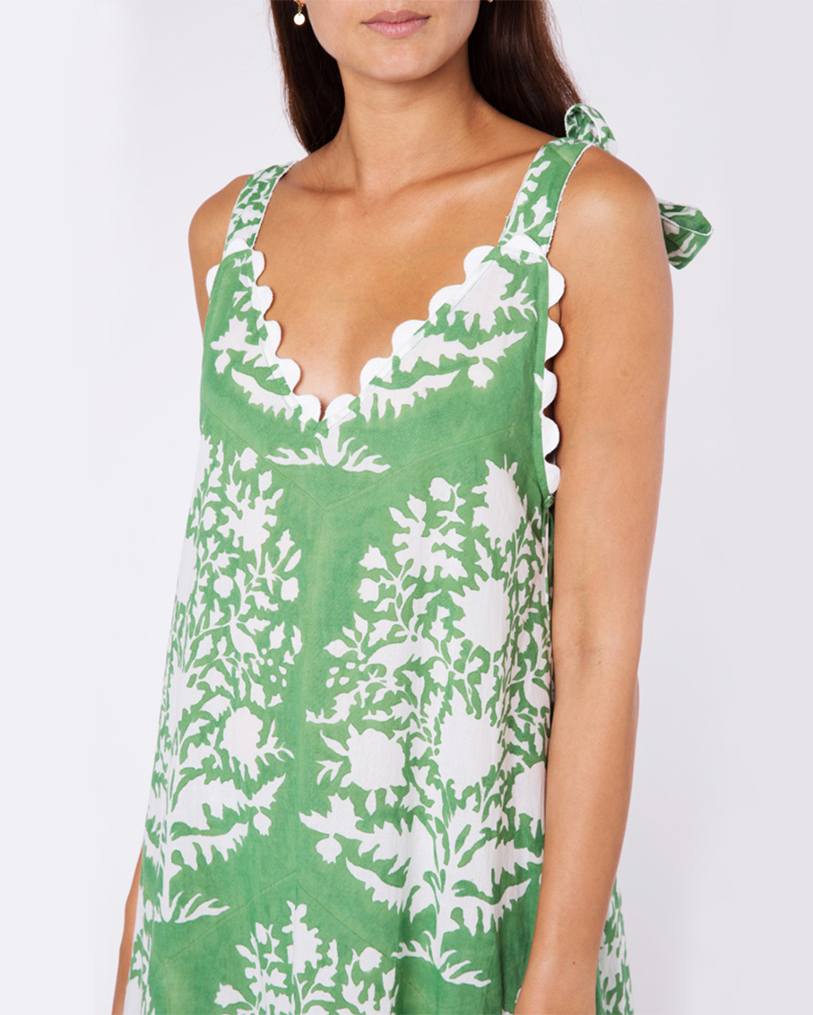 V-NECK MAXI DRESS IN PALLADIO BLOCK PRINT GREEN