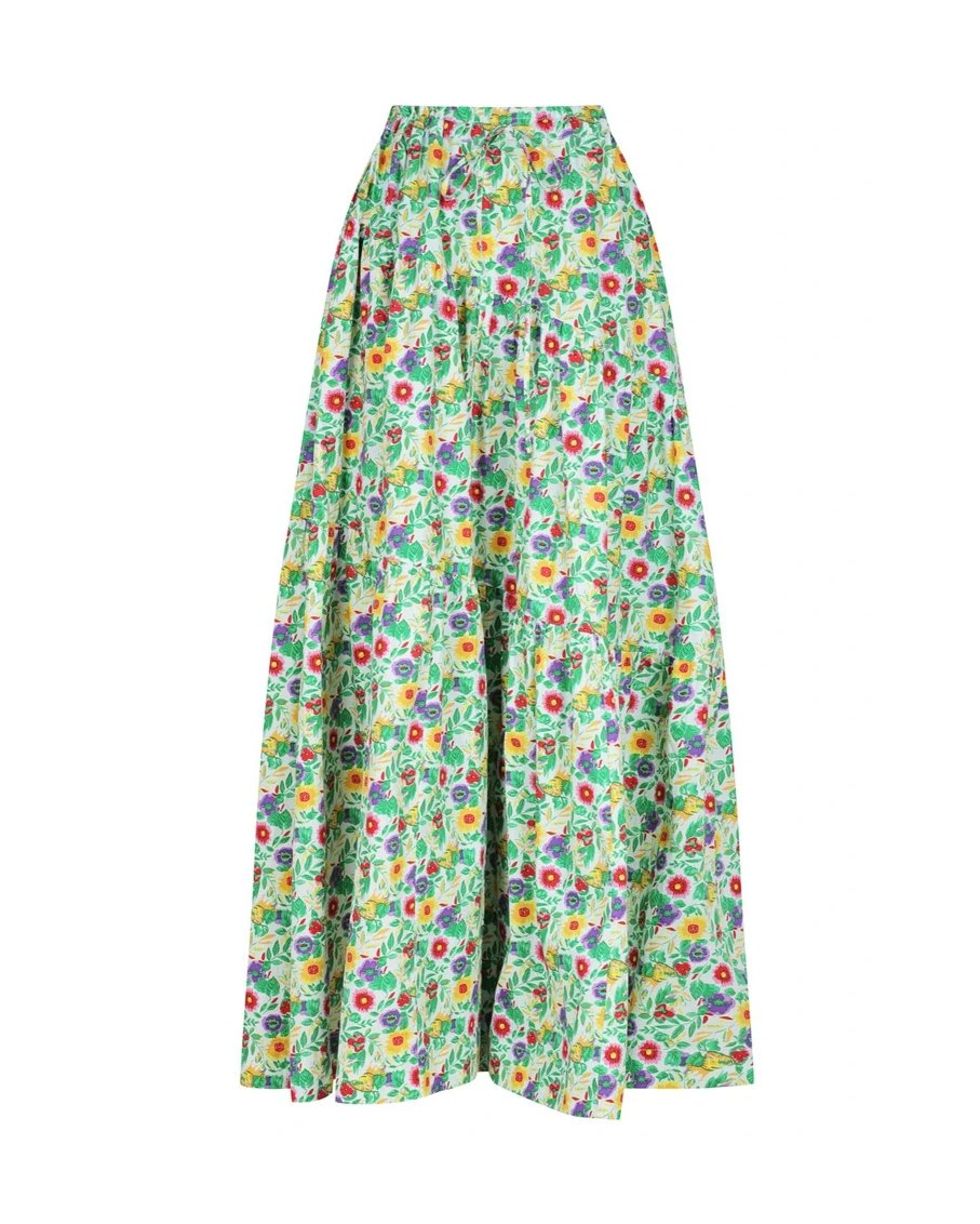 CROPPED TEE AND DRAWSTRING TIRED SKIRT SET WITH FLORAL PRINT