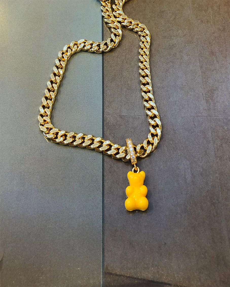 PLAIN JANE NECKLACE-NYC TAXI YELLOW BEAR