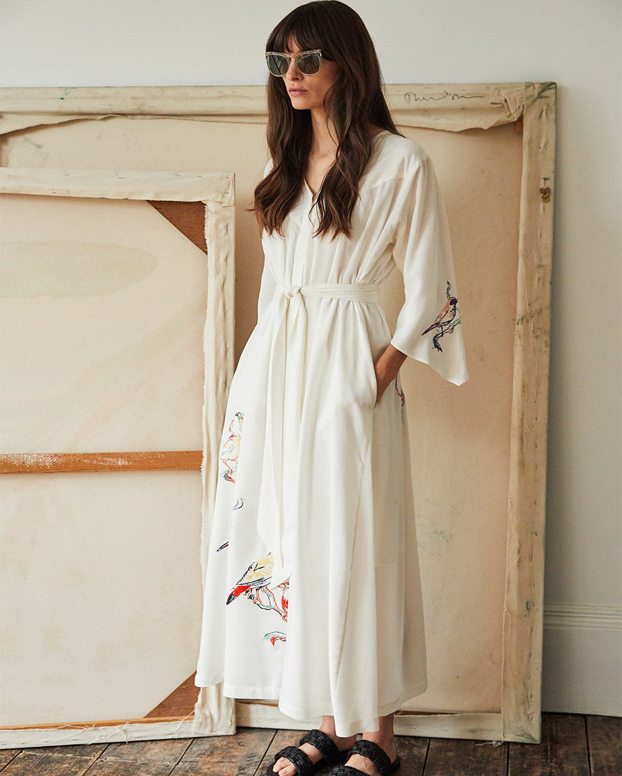 COLETTE DRESS WITH LOVE BIRD EMBROIDERY AND WORN