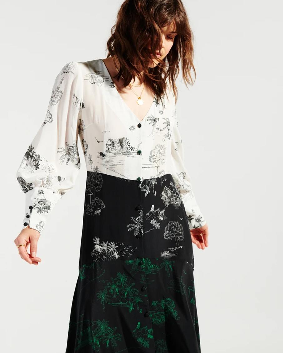 ELYSIAN FIELDS MIDAXI PANEL DRESS BLACK MULTI