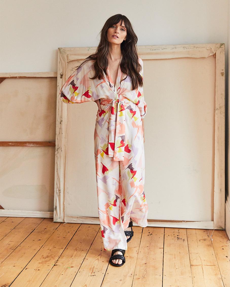 GLORIA KIMONO WRAP DRESS DOVES