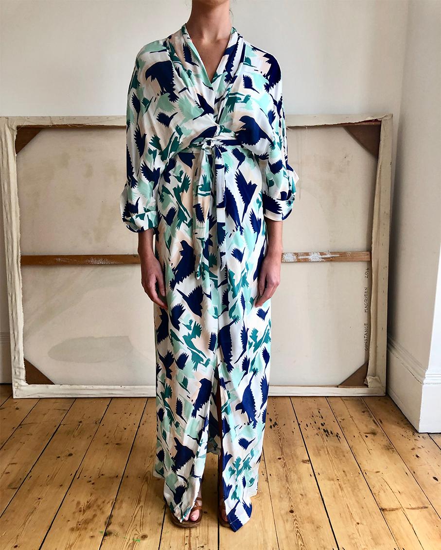 GLORIA KIMONO WRAP DRESS DOVES GREEN MULTI