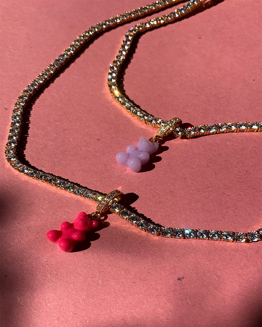 SERENA NECKLACE WITH NOSTALGIA BEAR PAVE CONNECTOR