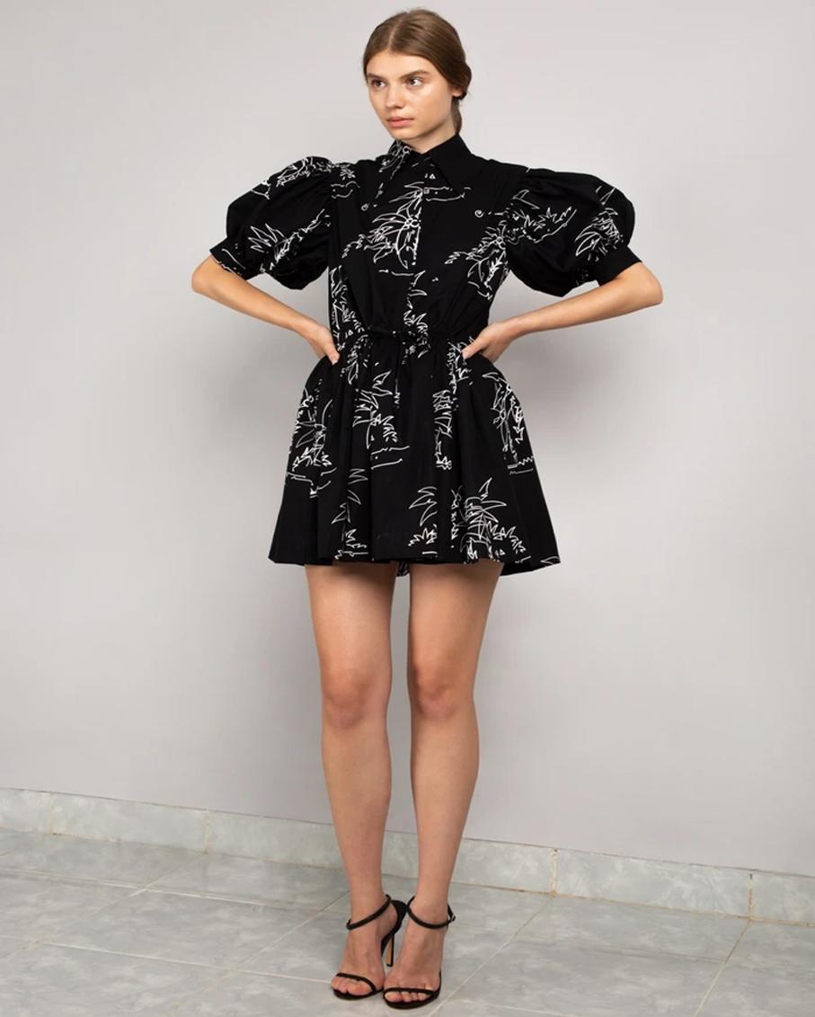 MINI COLLAR DRESS BLACK