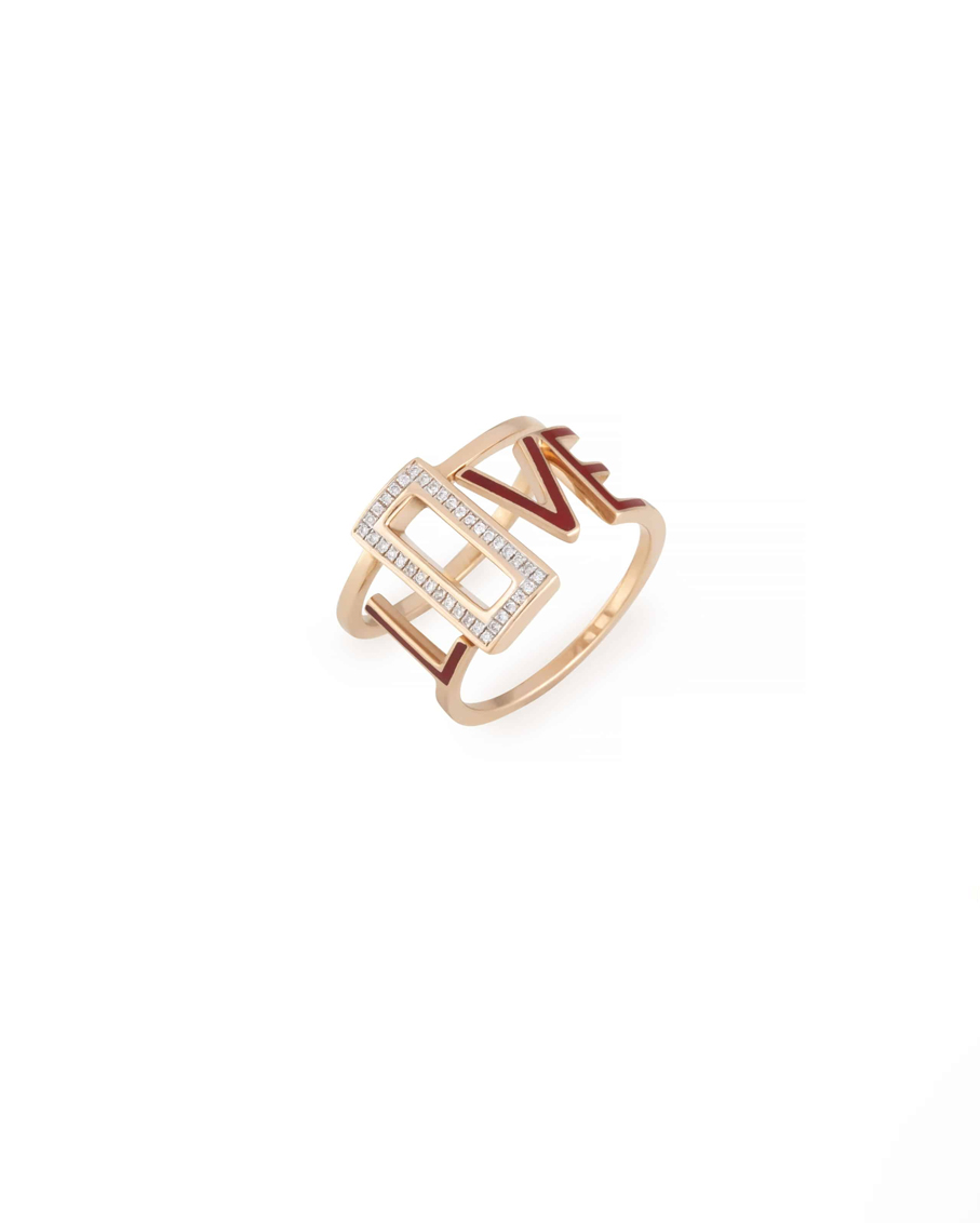 RING LOVE ROSE GOLD WITH WHITE DIAMONDS