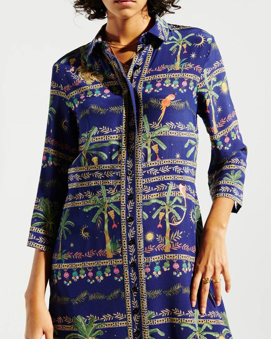 TWILIGHT SAFARI MAXI SHIRT DRESS SAFARI DARK MULTI