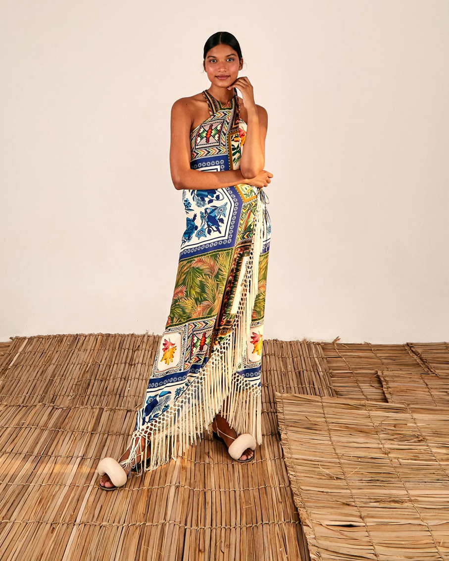 MIXED SCARFS CROSSED FRONT MAXI DRESS MULTI COLOR