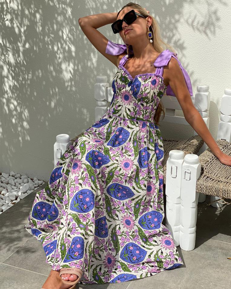 PURPLE FLOWER PRINT SUMMER DRESS WITH SILKY BOW STRAPS