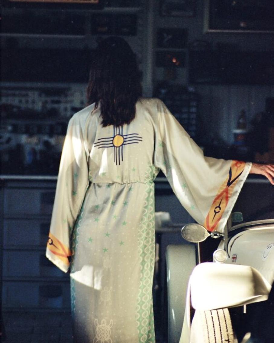 LONG KIMONO DRESS HAPINESS SYMBOL MULTI COLOR